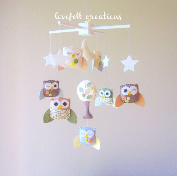 Owl Mobile Neutral Nursery Ideas Baby