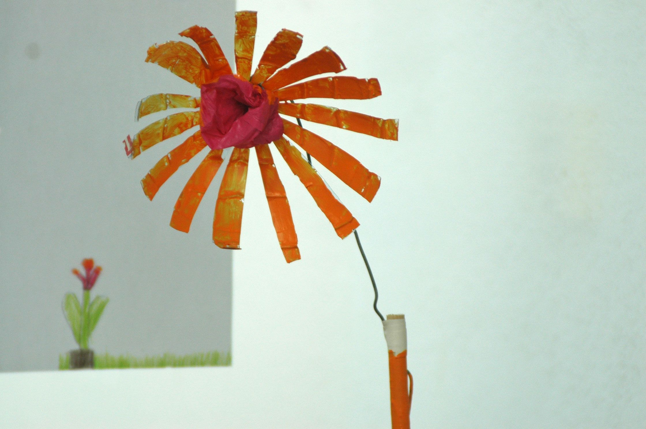 upcycling-flowers  art project with children