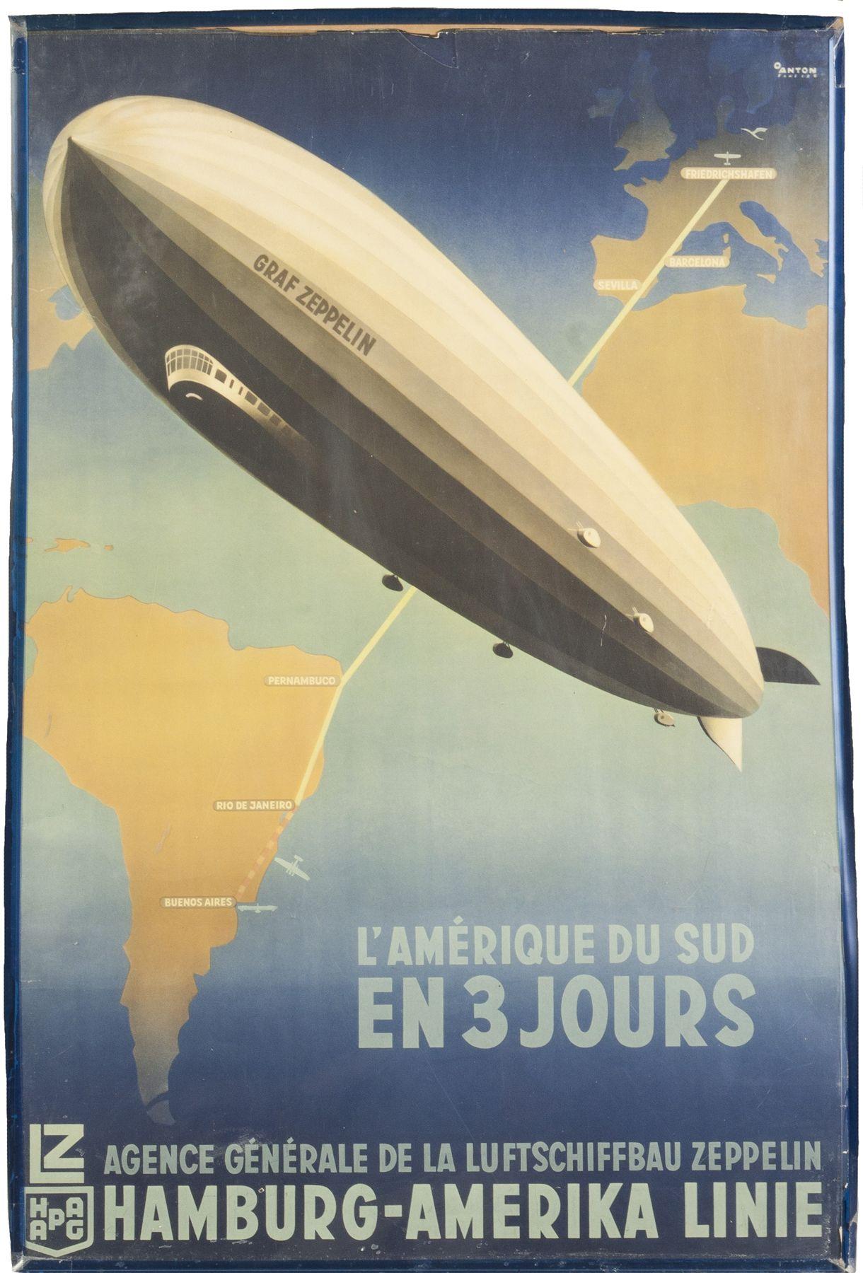 Poster design w graff - Graf Zeppelin Vintage Travel Poster For The Hamburg Amerika Line 36 X 24