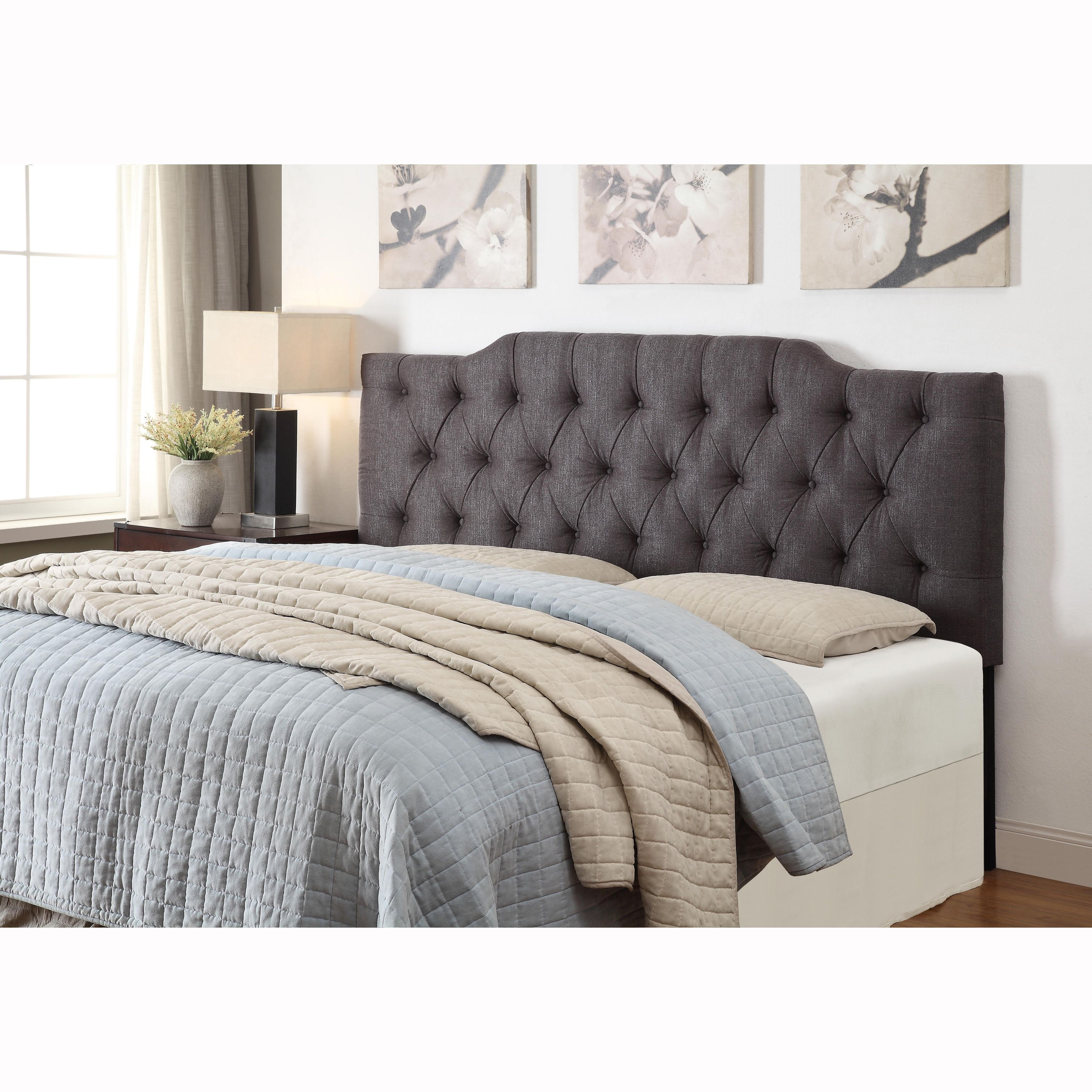 Charcoal Queen/Full Size Tufted Upholstered Headboard