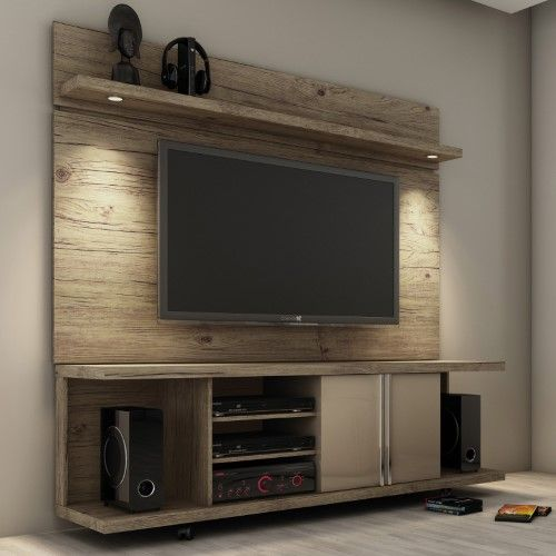 City 1.8 Floating Wall Theater Entertainment Center in Maple Cream and Off White