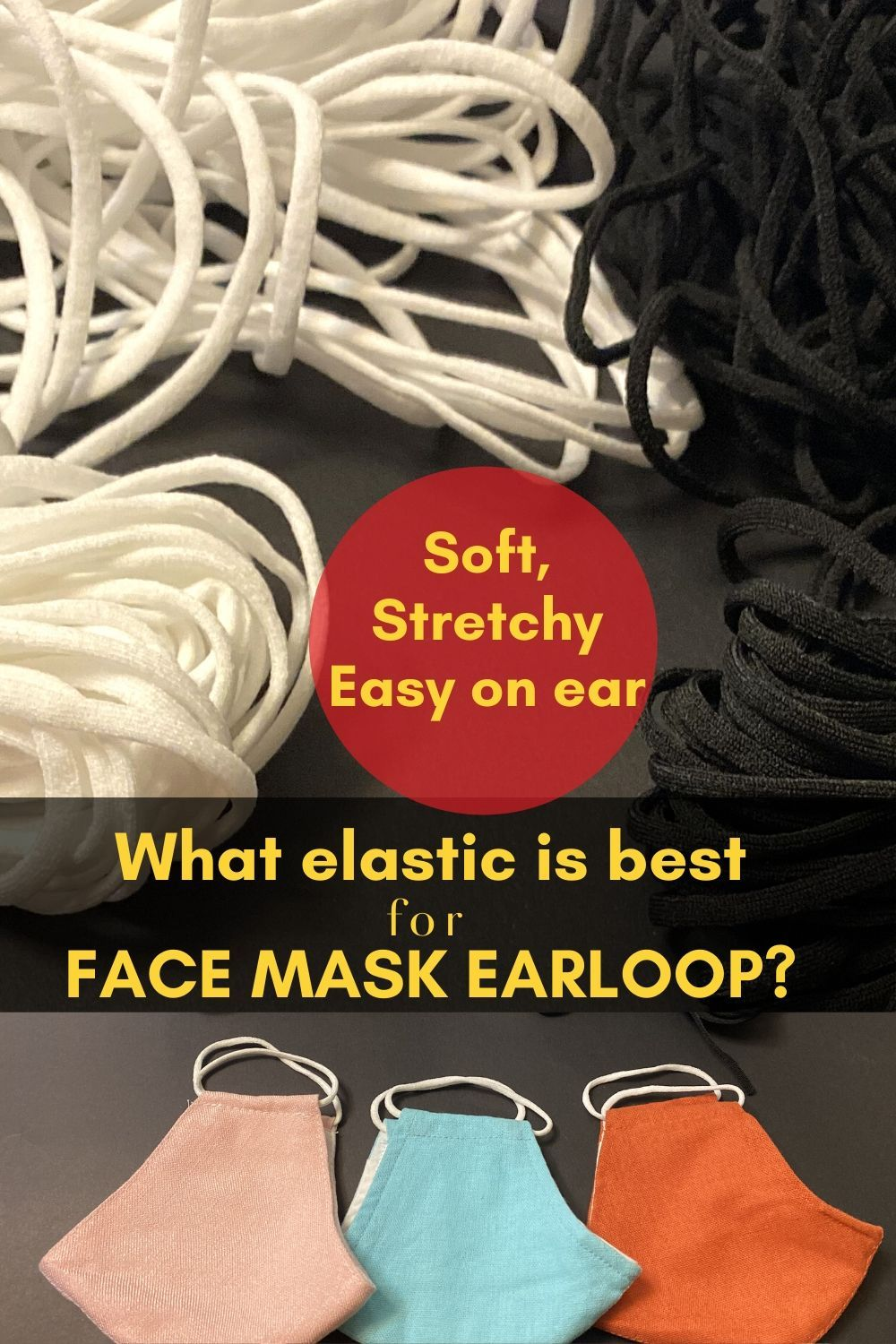 Soft Elastic For Face Mask Various Colours 4mm Elastic Cord For