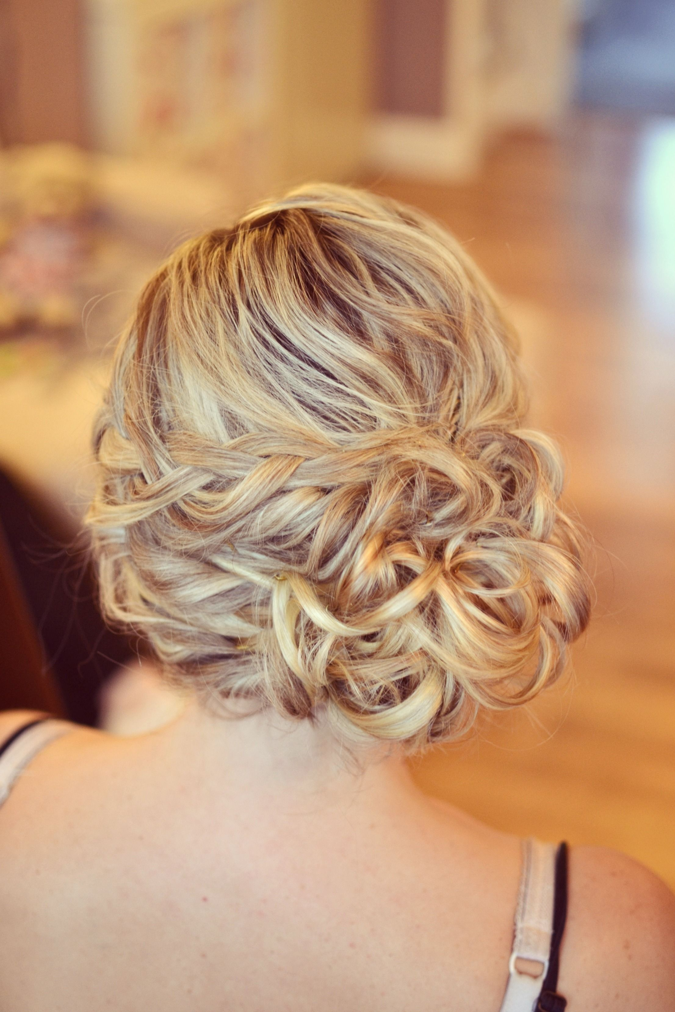 Wedding Hair Bride Side Bun Curls Plaits Bridesmaid Guest
