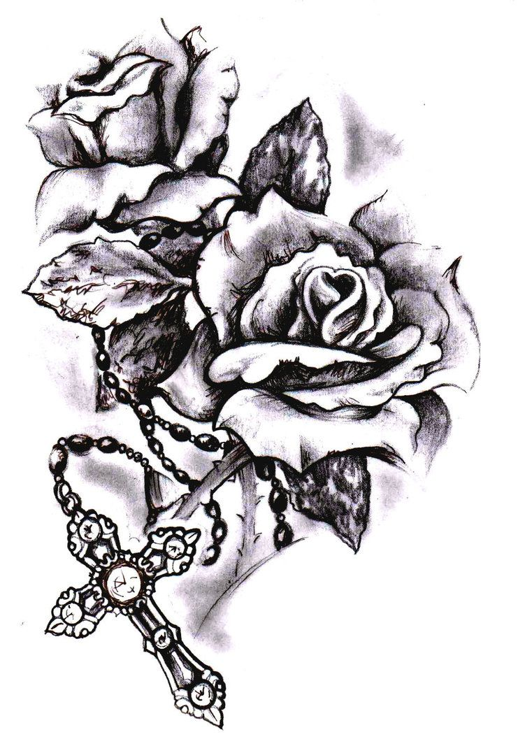 Rose cross sketch by SimonValentine on DeviantArt  tattoo ideas