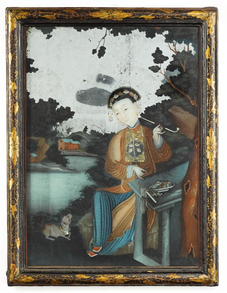 A Chinese Export Reverse Painted Mirror Late 18th Early