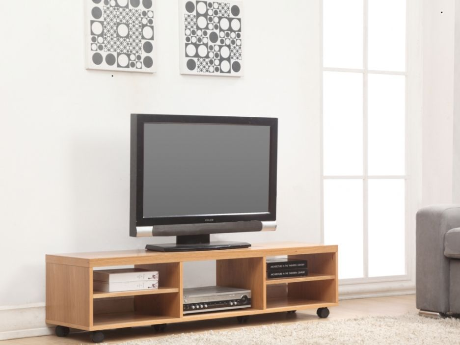 meuble tv kappi sur roulettes mdf placage bois finition. Black Bedroom Furniture Sets. Home Design Ideas