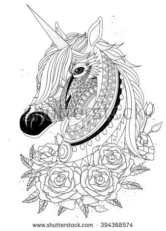 sacred unicorn with roses - adult coloring page | unicorn ...