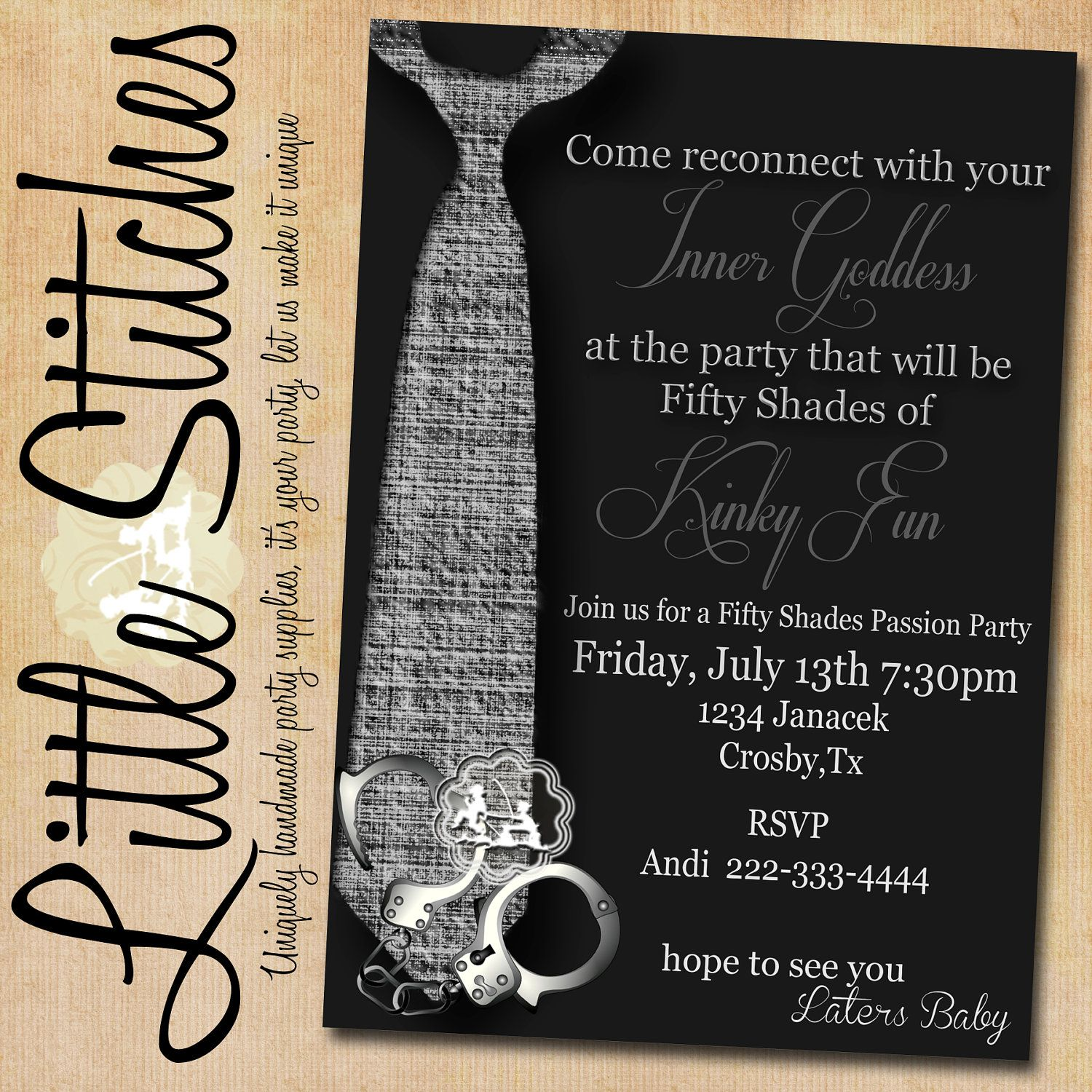 Fifty Shades of Grey Girls Night Out Party Invitation. $14.00, via ...