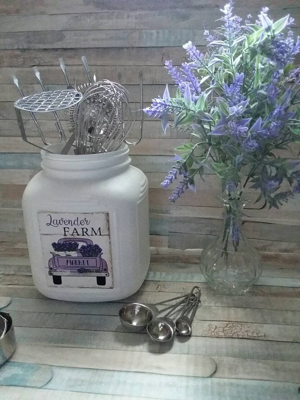 rustic farmhouse kitchen utensil holder canister crock in white with lavender vinyl label on farmhouse kitchen utensils id=37327