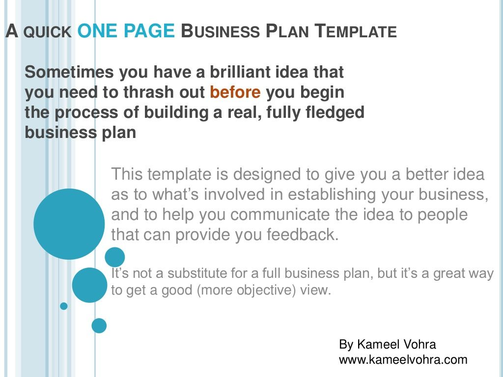 A Quick One Page Business Plan Template By Kameel Vohra Via