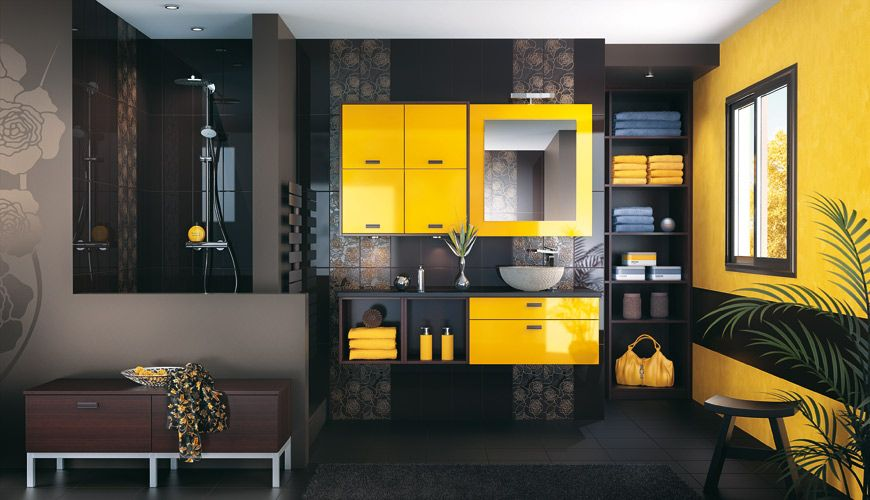Inspiration Une Salle De Bains Jaune Home Decor Bathroom Red Interior