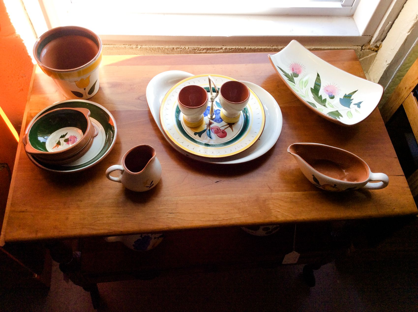 Stangl Pottery Set. Gravey boat, serving tray, flower pot, creamer pitcher, and more. $85 for all of the pieces. www.furniture4Ushop.com 717-519-9657