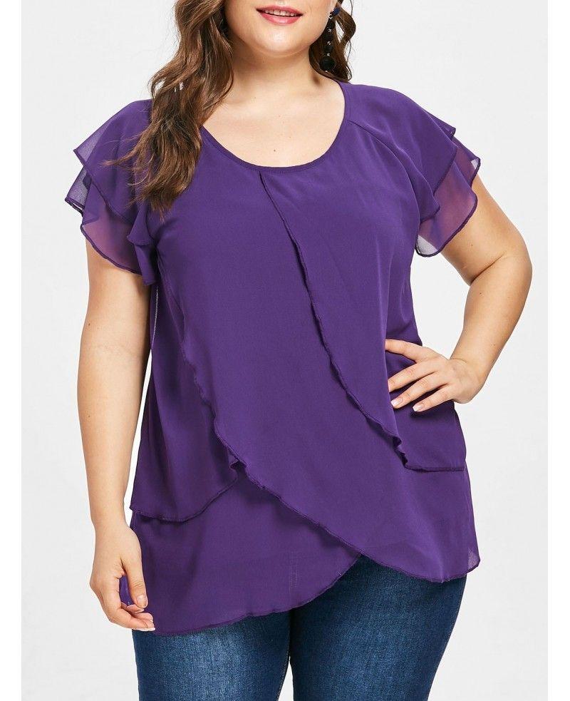 Photo of Plus Size Chiffon Tulip Blouse – Purple Monster – 3T72145815 Size L