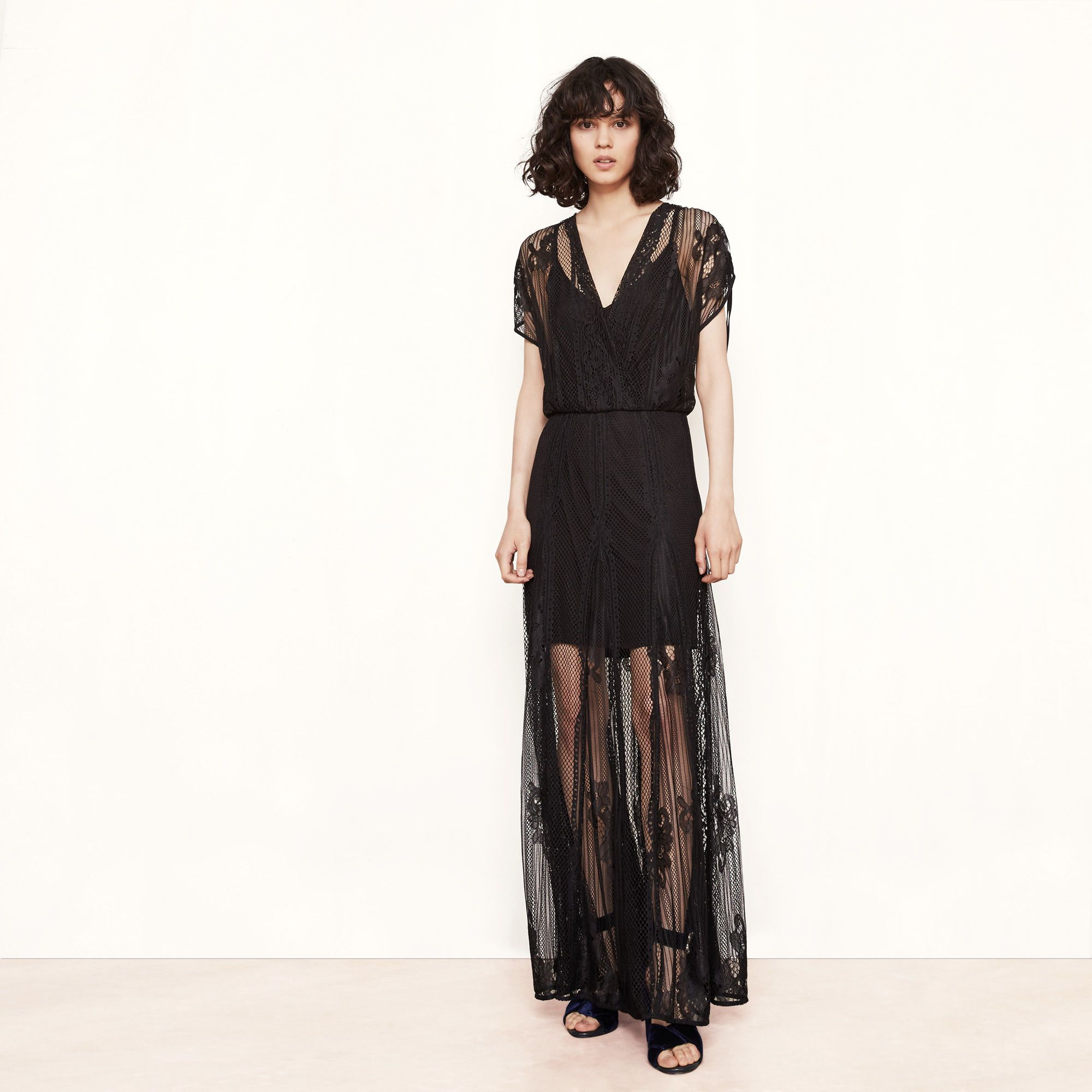 robe maje dentelle noire longue