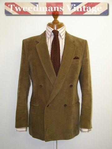 Brown corduroy jacket double breasted mens 40R | Tweedmans Vintage