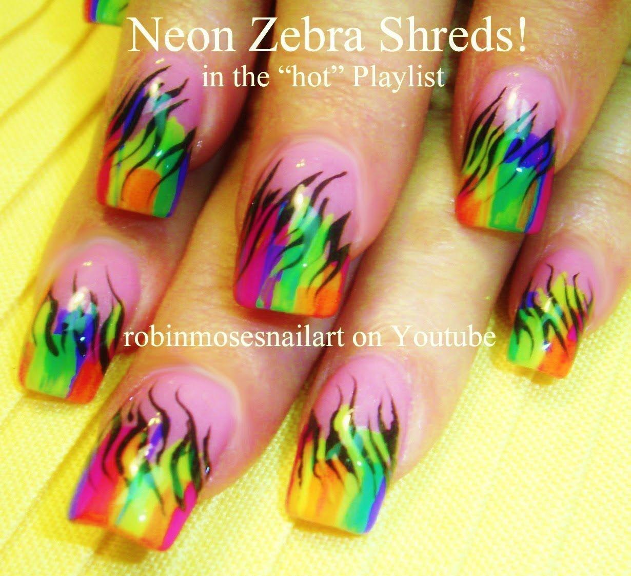 nail art tutorials   diy striped rainbow zebra print nails   neon