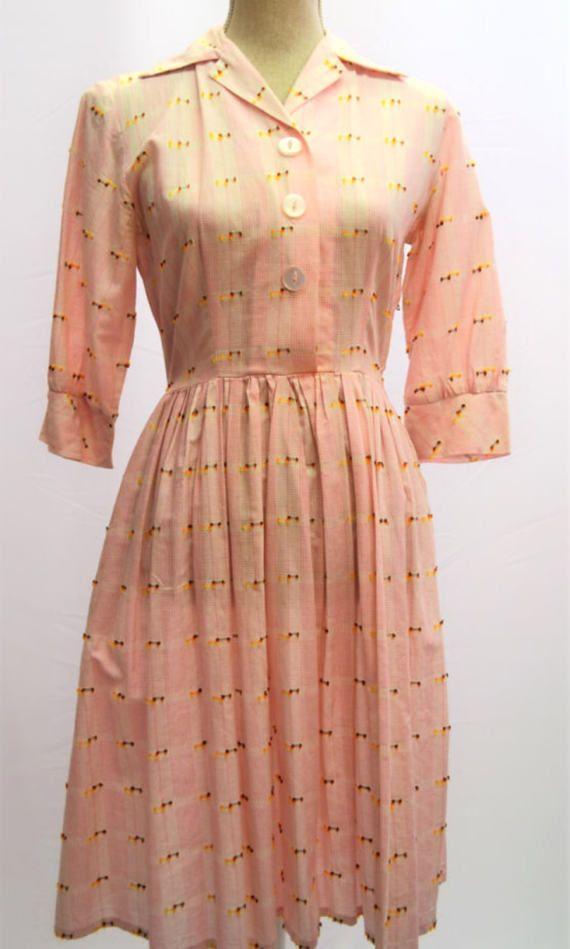1950s Pink Day Dress Made By Keynote Uk Vintage Size 14 Original 1950s Dress With Pocket Day Dresses Dresses Pink Day