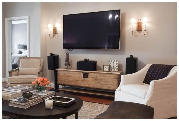 Living Room Set With Tv Including Wall Mounted Flat Screen