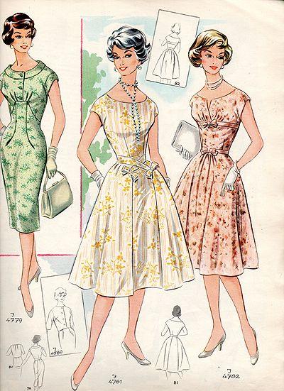 4842e03519bdea Schnittmuster 50er Jahre 50er Jahre Kleidung, 50 Jahre Kleider,  Modegeschichte, Vintage Kleider,