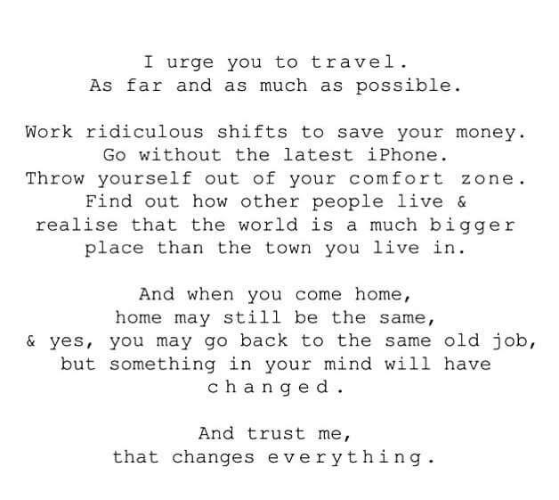 I urge you to travel