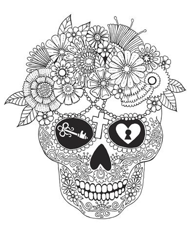 lost love sugar skull ( images)  skull coloring pages