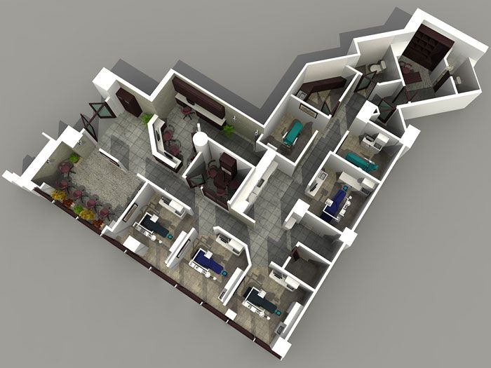 Industrial office space showroom and warehouse layout for 3d virtual tour house plans