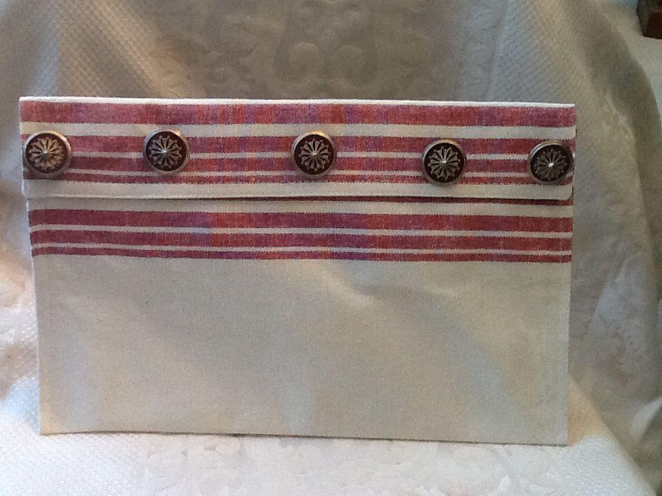 Clutch purse / tablet bag with hook & loop closure and vintage buttons  clutchpurse@yahoo.com