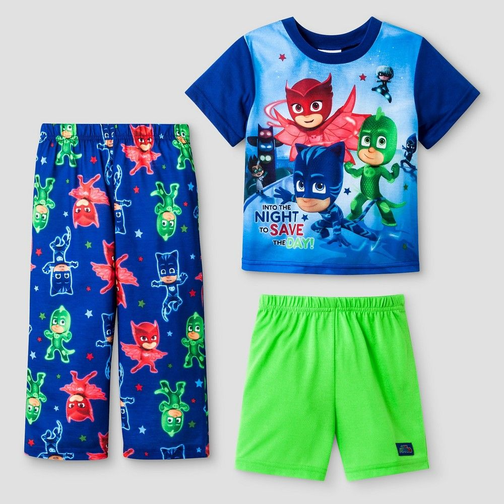 Toddler Boysu0027 PJ Masks 3pc Pajama Set 4T   Blue
