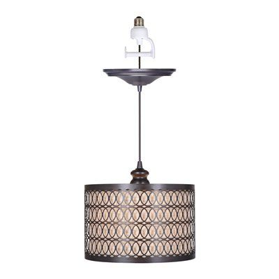 Fabric Linen Drum Shade Cage Convert Your Recessed Lights To Stylish Pendant Lights Without The Ha Screw In Pendant Light Pendant Light Bronze Pendant Light