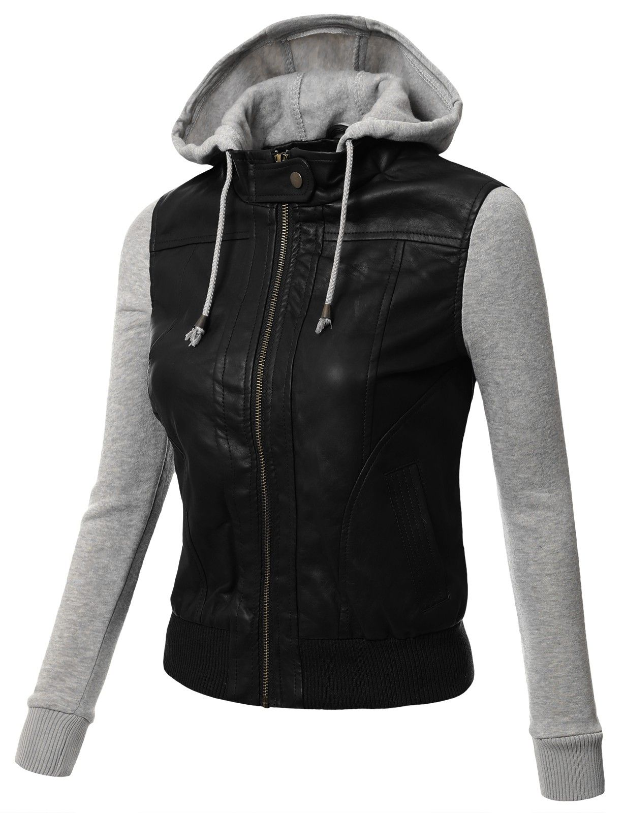 Womens Faux Leather Hooded Moto Jacket With Pockets