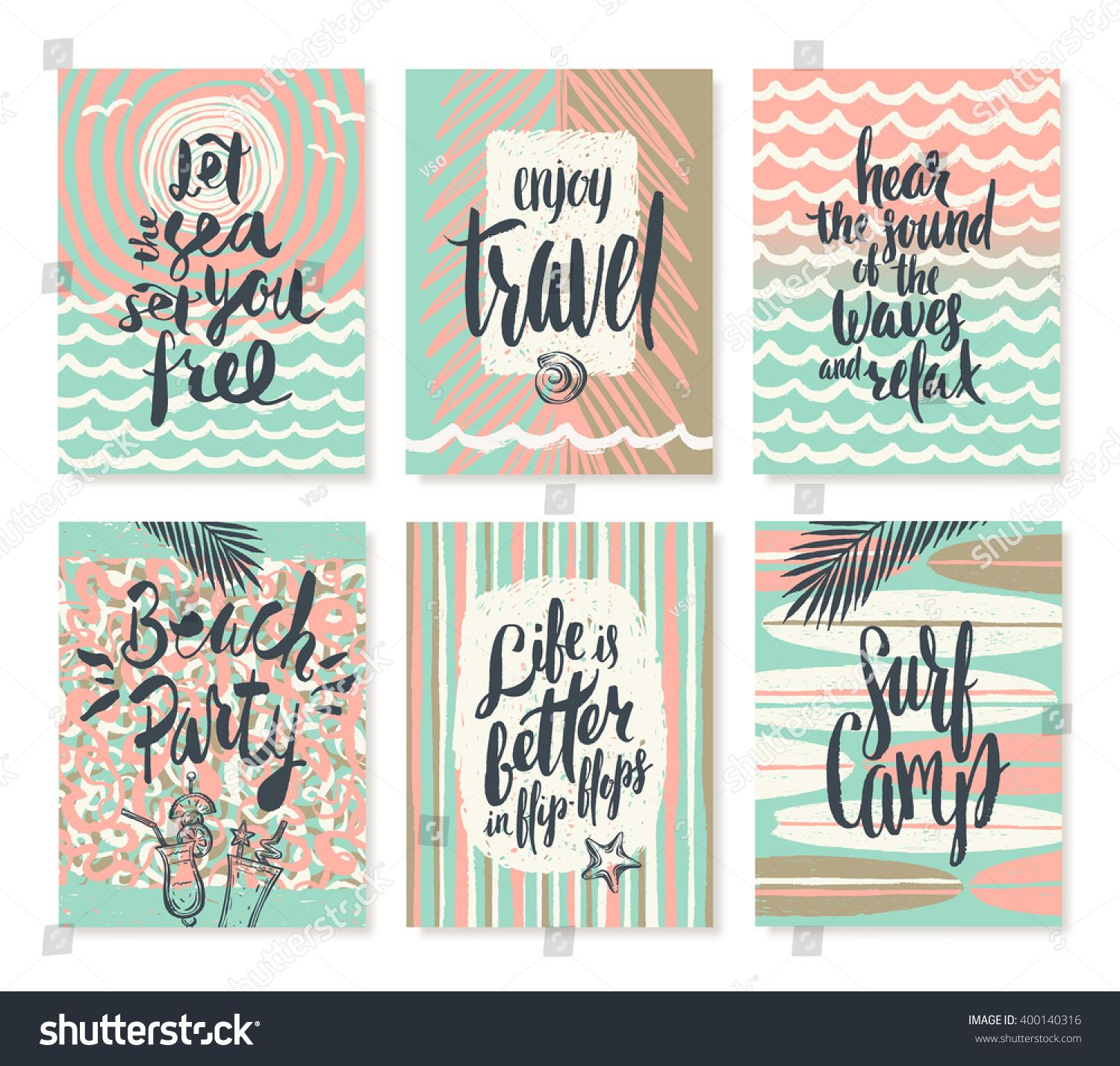 Vector set of summer holidays and tropical vacation hand drawn vector set of summer holidays and tropical vacation hand drawn posters or greeting card with handwritten kristyandbryce Image collections