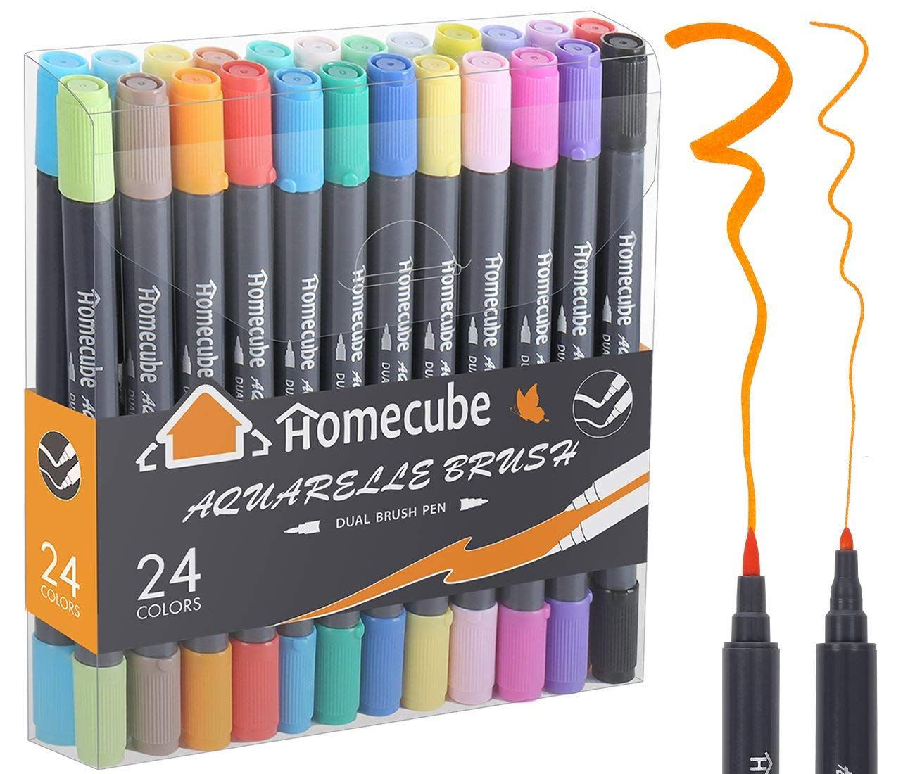 Amazon 24 Colors Art Markers Set With Water Based Soft Brush Tip
