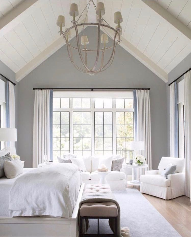 Gorgeous Gray And White Bedrooms: Gorgeous Master. Light And Bright. Vaulted Ceiling. White