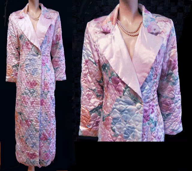 VINTAGE ARIEL TUXEDO LOOK SATINY QUILTED ROBE ADORNED WITH ROSES ... : quilted robe - Adamdwight.com