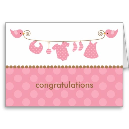 baby pink laundry line note cards greeting card