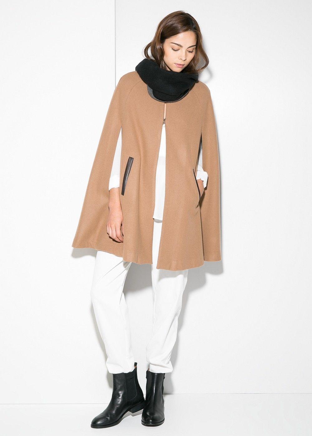c2db1f6b0a82 Mango    Trimmed wool-blend cape