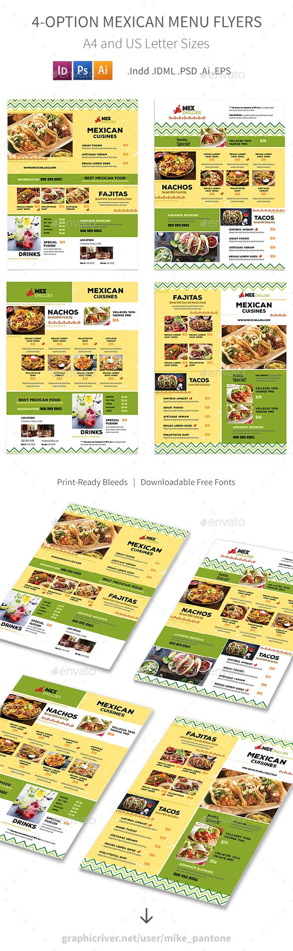Mexican Restaurant Menu Flyers 2 4 Options Food Menus Print