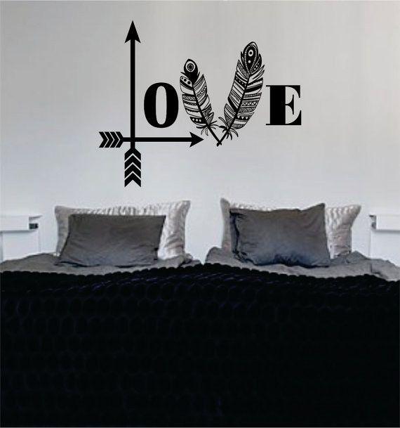 Love Arrows Tribal Feathers Decal Sticker Wall Vinyl Decor Art