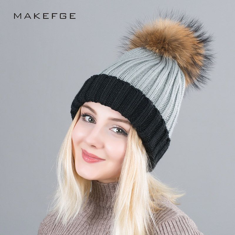 71156790a29 Winter knitted Cap For Women Pom Poms Ball Beanies Two Colors Knit Girl  s  Wool Hat