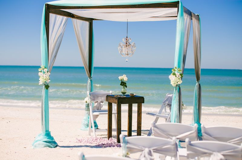 Wooden Arbor Tiffany Blue Decor Chandelier Sun And Sea Beach Weddings