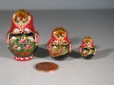 Russian~Set Of Three Hand Carved Miniature Nesting Dolls~Signed