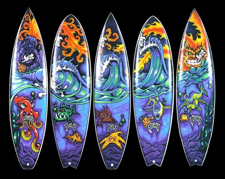 SURFBOARD ART Lostsurfboardmural WHEN IN DOUBT - Artist paints incredible seaside murals balanced on surfboard
