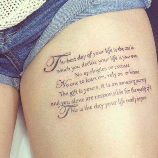 Pequeño Tatuaje Que Dice The Best Day Of Your Life Is The One On