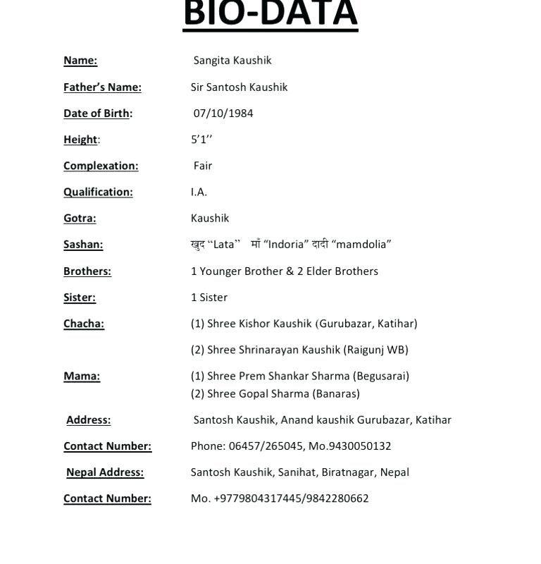 Biodata resume format sample bio data for marriage