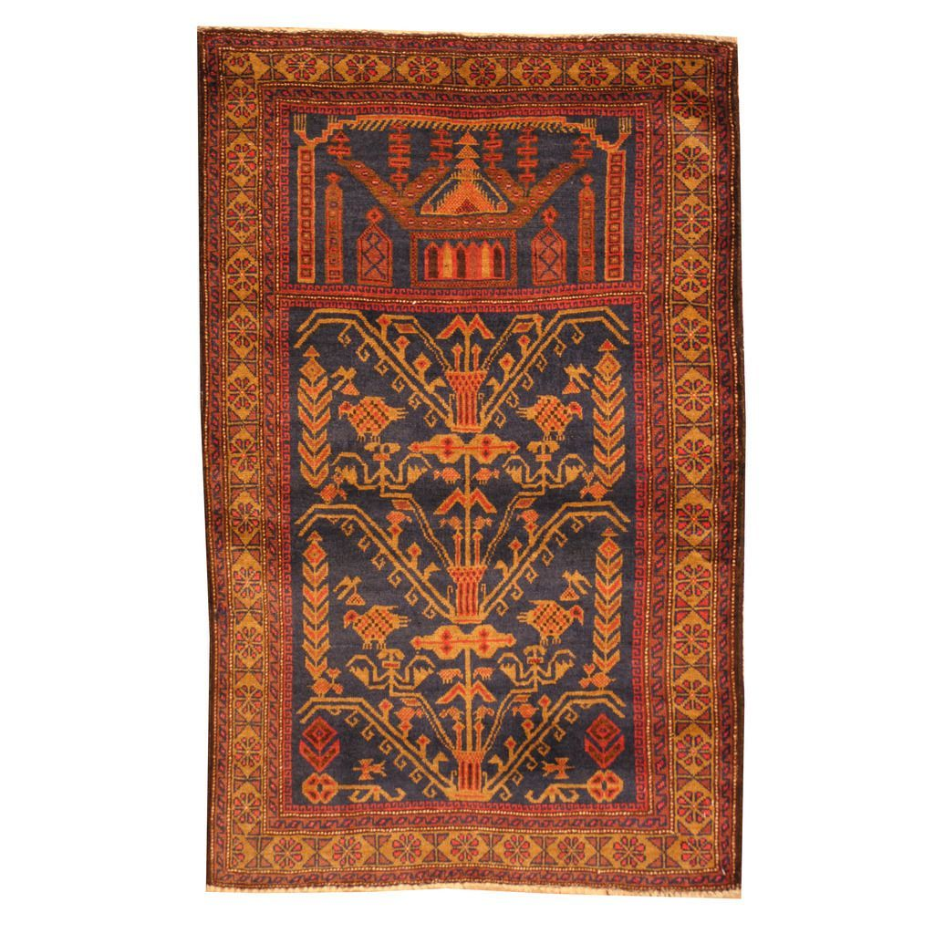 Herat Oriental Afghan Hand-knotted Tribal Balouchi Navy/ Red Rug