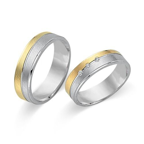 Eheringe gold mit 3 diamanten  Hochwertige Eheringe aus 750er Gelb- und Weissgold 3 Diamanten ...