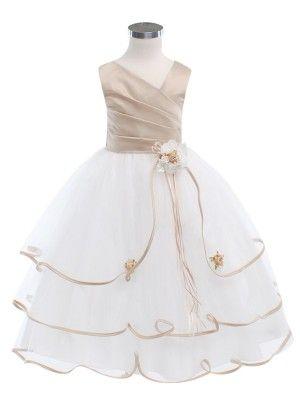 7d78066db635 Ivory Taupe 3 Tier Tulle Skirt Flower Girl Dress (Sizes 2-16 in 6 Colors) - Flower  Girl Dresses - GIRLS