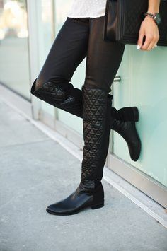 Stuart Weitzman Quiltboot 50/50 Over-The-Knee Black Boots