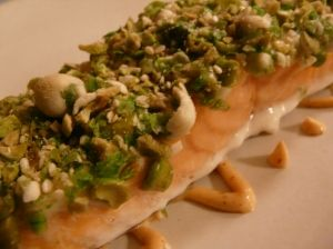 Wasabi-pea crusted salmon with spicy mayonnaise sauce... from my Kosher food blog!