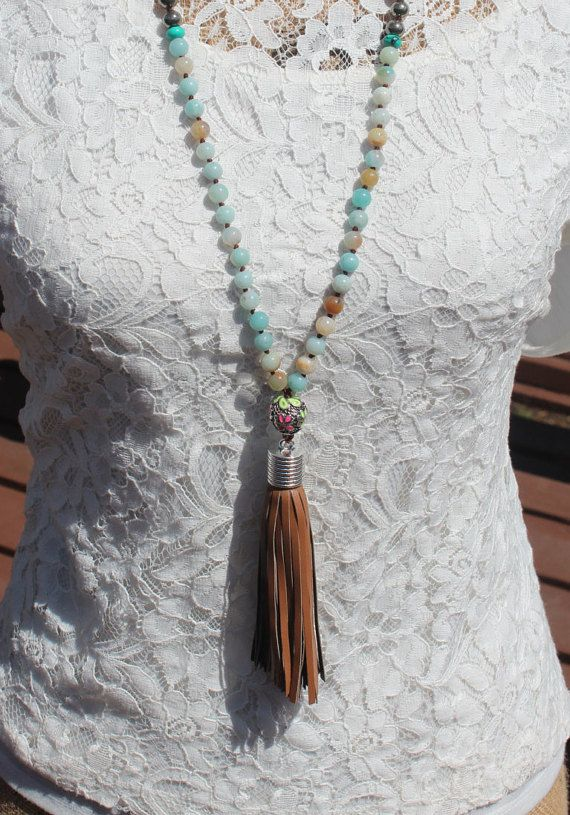 Tassel Knotted Necklace Knotted beachy Stone by InaraJewels